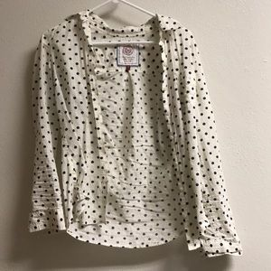 Navy and white polka dot long sleeve button down